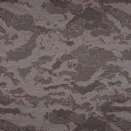 Tissu Jacquard Jersey Harvard Motifs abstraits Noirs et rouges sur fond Gris - Par 10 cm