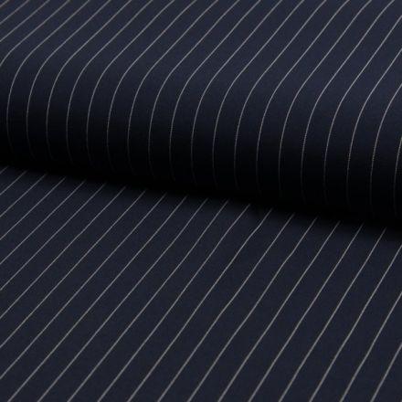 Tissu Gabardine légère et fluide  Rayures blanches sur fond Bleu marine - Par 10 cm