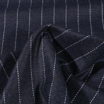 Tissu Gabardine Laine Rayures sur fond Bleu chiné - Par 10 cm