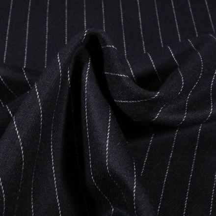 Tissu Gabardine touché Laine Rayures sur fond Bleu marine - Par 10 cm