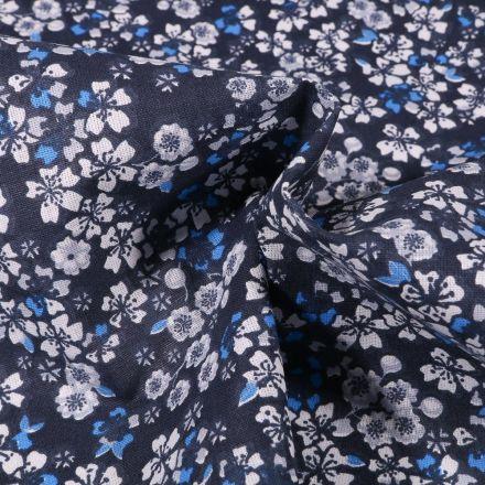 Tissu Coton imprimé Arty Fleurs de Sakura sur fond Bleu marine - Par 10 cm