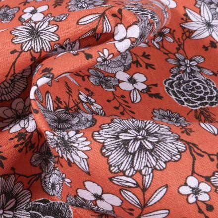 Tissu Coton imprimé Arty Fleurs black & white sur fond Orange - Par 10 cm