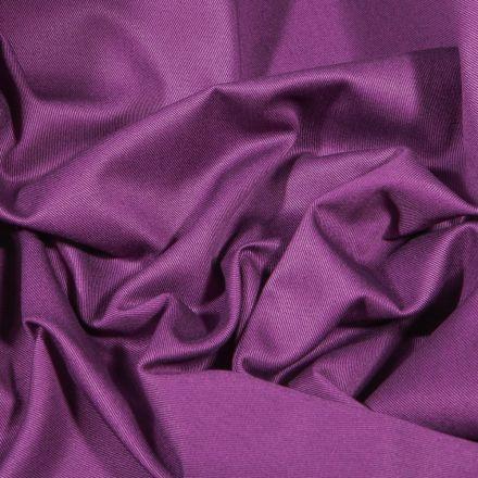Tissu Coton Sergé uni Violet - Par 10 cm