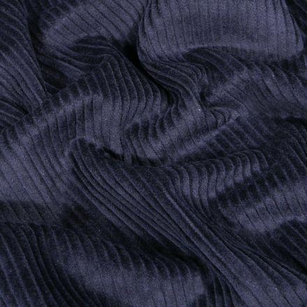 Tissu Velours côtelé uni Bleu marine - Par 10 cm