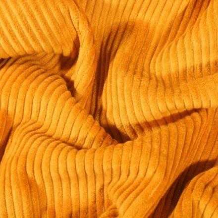 Tissu Velours côtelé uni Moutarde - Par 10 cm