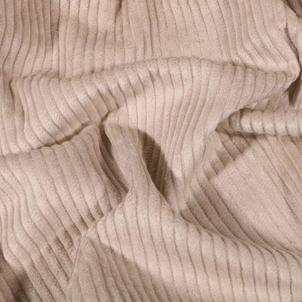 Tissu Velours côtelé uni Beige - Par 10 cm