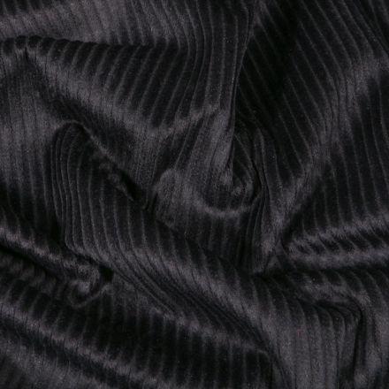 Tissu Velours côtelé uni Noir - Par 10 cm