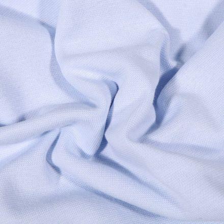 Tissu Bord côte uni Bio Bleu ciel - Par 10 cm