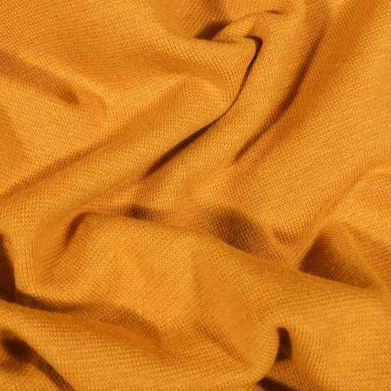 Tissu Bord côte uni Bio Moutarde - Par 10 cm