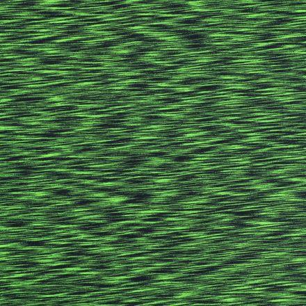 Tissu Jersey Chiné Vert fluo sur fond Bleu marine - Par 10 cm