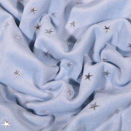 Tissu Velours Jersey tout doux Etoiles argentées sur fond Bleu ciel - Par 10 cm