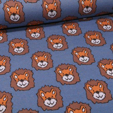 Tissu Sweat Maille Tête de lion sur fond Bleu indigo - Par 10 cm