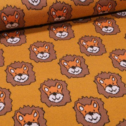 Tissu Sweat Maille Tête de lion sur fond Ocre - Par 10 cm