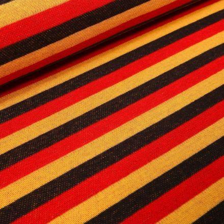 Tissu Jersey Jacquard Rayures noires et rouges sur fond Jaune - Par 10 cm