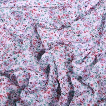 Tissu Jersey Coton Flowers menthe sur fond Blanc - Par 10 cm