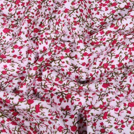 Tissu Jersey Coton Charlize rouge sur fond Blanc - Par 10 cm