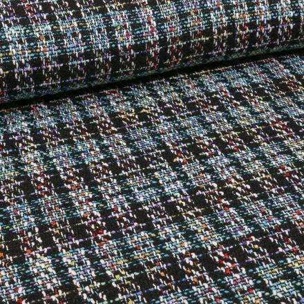 Tissu Tweed coloré sur fond Bleu - Par 10 cm