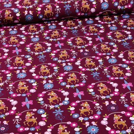 Tissu Coton imprimé Faons et couronnes de fleurs sur fond Violet foncé - Par 10 cm