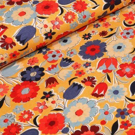 Tissu Jersey Coton Fleurs printanières sur fond Jaune - Par 10 cm