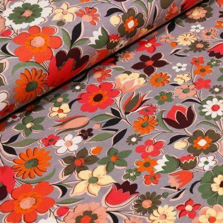 Tissu Jersey Coton Fleurs printanières sur fond Gris - Par 10 cm