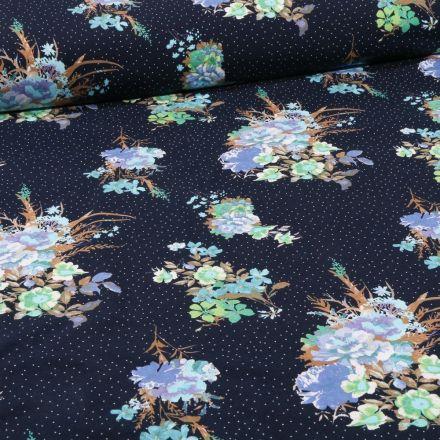 Tissu Jersey Coton Bouquets de fleurs bleus sur fond Bleu marine - Par 10 cm