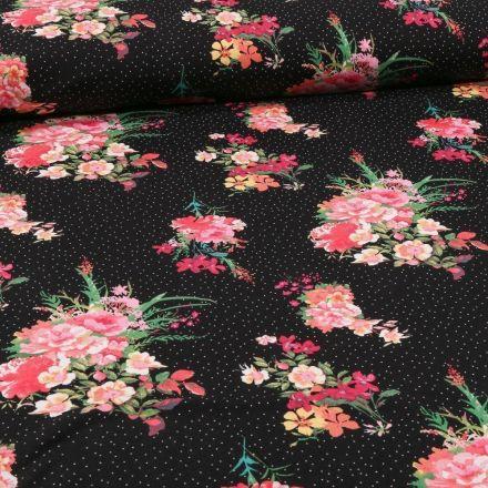 Tissu Jersey Coton Bouquets de fleurs rose sur fond Noir - Par 10 cm