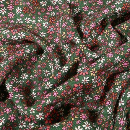 Tissu Viscose twill Jeanne sur fond Vert - Par 10 cm