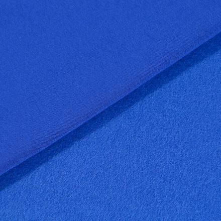 Tissu Molleton Sweat uni Bleu roi - Par 10 cm