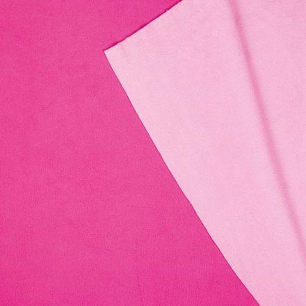 Tissu Polaire Double face Bicolore Fuschia et rose - Par 10 cm