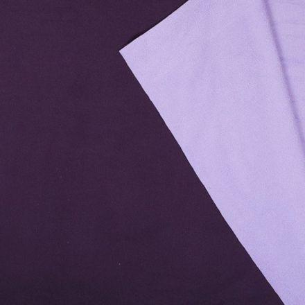 Tissu Polaire Double face Bicolore Prune et lilas - Par 10 cm
