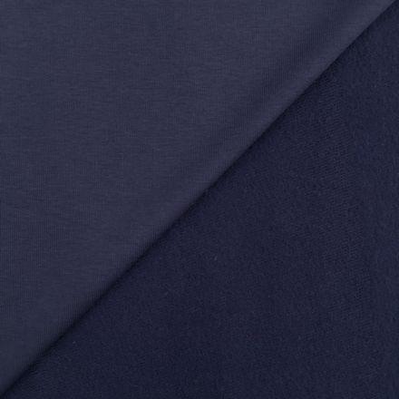 Tissu Molleton Sweat uni Bleu marine x10cm