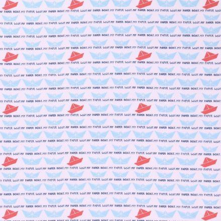 Tissu Jersey Arty Bateaux en papier Bleu ciel et orange sur fond Blanc - Par 10 cm