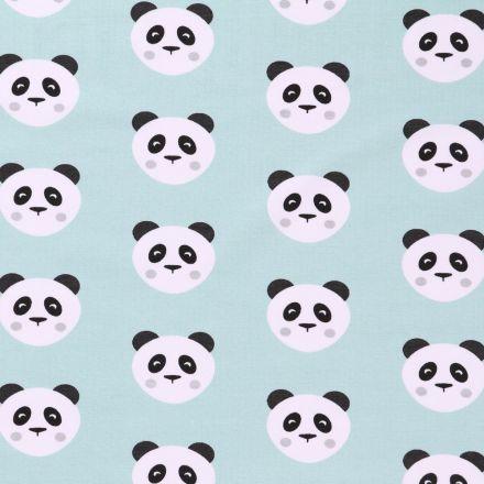 Tissu Jersey Arty Têtes de Pandas Noires et blanches sur fond Menthe - Par 10 cm