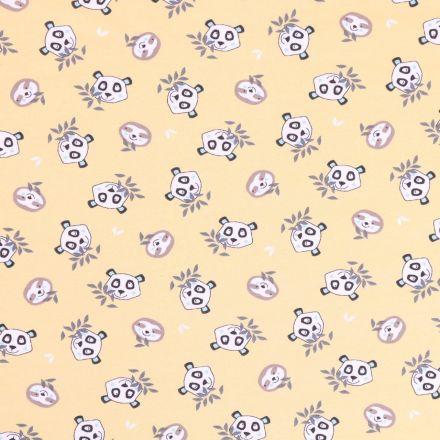 Tissu Jersey Coton Arty Têtes de pandas et paresseux Noires, taupe et menthe sur fond Jaune pâle - Par 10 cm
