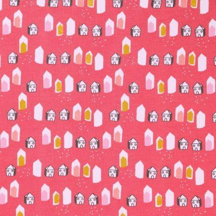 Tissu Jersey Arty Maisons blanches, moutarde et roses sur fond Corail - Par 10 cm
