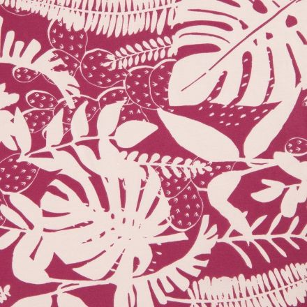 Tissu Coton Imprimé Arty Feuillage Ecru sur fond Prune - Par 10 cm
