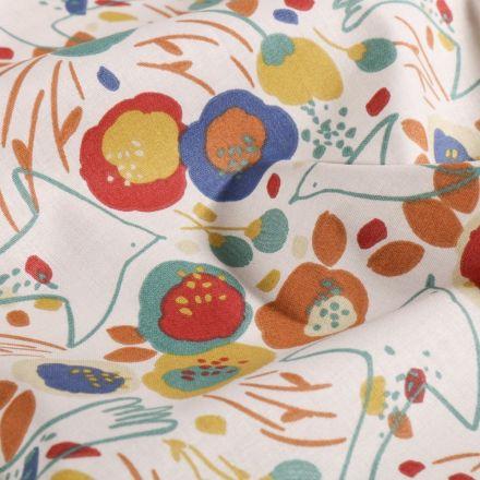 Tissu Coton imprimé Arty Fleurs colorées et hirondelles sur fond Blanc - Par 10 cm