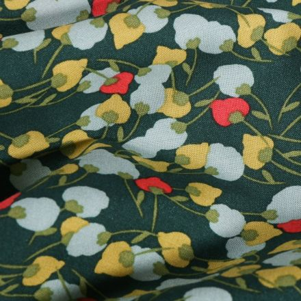 Tissu Viscose  Arty Fleuris sur fond Vert foncé - Par 10 cm