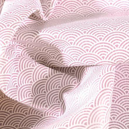 Simili cuir d'ameublement Eventails gris souris sur fond Blanc - Par 50 cm