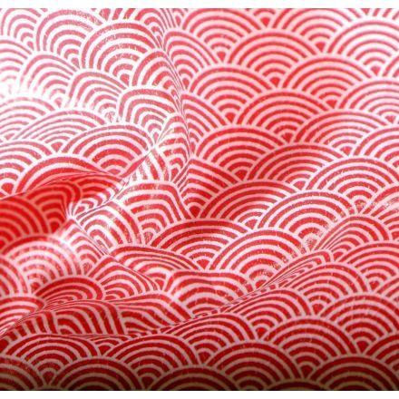 Simili cuir d'ameublement Eventails rouges sur fond Blanc - Par 50 cm