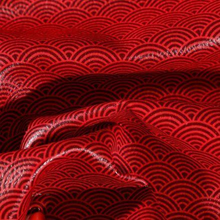 Simili cuir d'ameublement Eventails noirs sur fond Rouge - Par 50 cm
