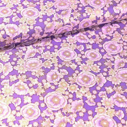 Tissu Coton QT Fabrics Florentine garden fleurs or sur fond Violet - Par 10 cm