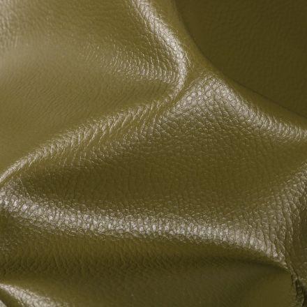 Simili cuir d'ameublement uni Kaki - Par 50 cm
