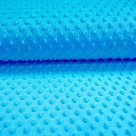 Tissu Minky Ultra doux Pois Turquoise - Par 10 cm
