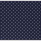 Tissu Jersey Coton Etoiles blanches sur fond Bleu marine - Par 10 cm