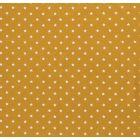 Tissu Jersey Coton Etoiles blanches sur fond Moutarde - Par 10 cm