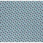 Tissu Coton imprimé LittleBird Têtes d'oursons bleu canard sur fond Vert d'eau - Par 10 cm