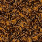 Tissu Jersey viscose  Feuilles de palmier noires sur fond Jaune curcuma - Par 10 cm