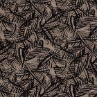 Tissu Jersey viscose  Feuilles de palmier noires sur fond Taupe - Par 10 cm