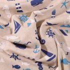 Tissu Toile Coton motifs marins - Par 10 cm